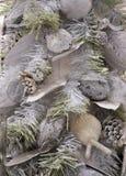 Silberner Weihnachtsbaumhintergrund Stockfoto
