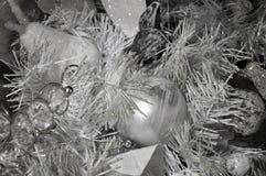 Silberner Weihnachtsbaumhintergrund Lizenzfreie Stockfotografie