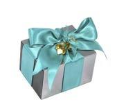Silberner Weihnachtsgeschenkkasten Stockfotografie