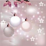 Silberner Weihnachtshintergrund Stockfotos