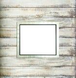 Silberner WeinleseBilderrahmen auf altem Holz Lizenzfreies Stockfoto