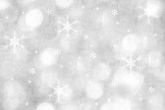 Silberner Winterschneeflockenhintergrund für Weihnachten Stockfoto