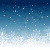 Silberner Winterzusammenfassungshintergrund Weihnachten mit Schneeflocken Vektor Stockfotos