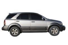 Silbernes Auto getrennt über Weiß Stockbild