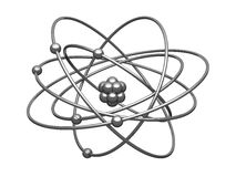 Silbernes Baumuster des Atoms mit zentralem Kern Stockfotografie