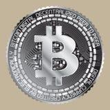 Silbernes bitcoin Lizenzfreie Stockbilder