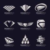 Silbernes Diamantlogovektor-Illustrationsbühnenbild Stockfotos