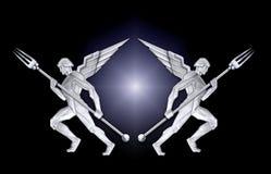 Silbernes Feld des Art DecoEngels w/fork stock abbildung