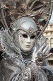 Silbernes Grau Venedig-Maske Lizenzfreie Stockfotos