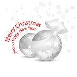 Silbernes Grau Weihnachtsflitter mit Bogen Stockbilder
