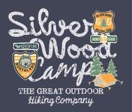 Silbernes hölzernes Lager, das Firma wandert stock abbildung