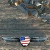 Silbernes Metall beflügelt Rahmen und Flagge von den Vereinigten Staaten von Amerika 3 Lizenzfreie Stockfotos
