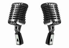 Silbernes Mikrofon der Weinlese Stockbild