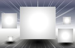 Silbernes Quadrat täfelt Flugwesen durch Platz Stockfoto