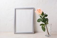 Silbernes Rahmenmodell mit sahniger Rosarose im Glasvase Stockbilder