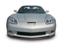 Silbernes Sport-Auto Front View Stockbild