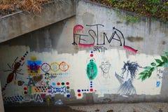Silbernes Stadt Nanometer-Festival von Graffiti lizenzfreies stockfoto