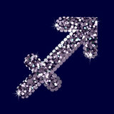 Silbernes Symbol des Schützen tierkreis Vektor Stockfotografie