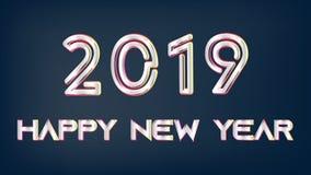Silbernes Weihnachten des neuen Jahres 2019 auf dunklem Hintergrund stock abbildung