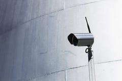 Silbriger Hintergrund der Kameraüberwachungs-Trommel Stockbild