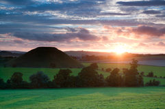 Silbury Hill sunset Royalty Free Stock Photo