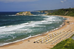 Sile Beach, Istanbul, Turkey. Panoramic view of beach in resort of Sile, Turkey Stock Image
