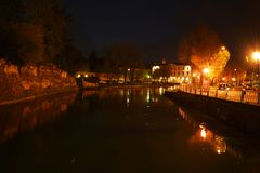 Sile by night, in Treviso, Italy Royalty Free Stock Image