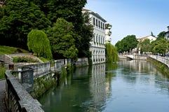 The Sile river in Treviso. veneto district. Italy stock photo