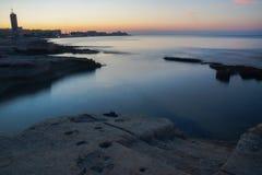 Silema strand i Malta Arkivfoton