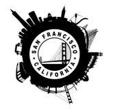 Silen för San Francisco Skyline den runda skyddsremsasymbol royaltyfri illustrationer