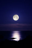 Silence. Full moon and the sea in norway Royalty Free Stock Image