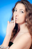 Silence of Beautiful Young Woman Royalty Free Stock Photos