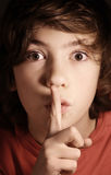 Silence gesture, boy ask for keep important secret Royalty Free Stock Photography