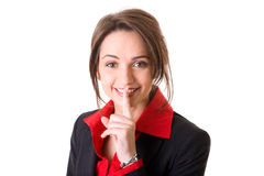Silence gesture made by young attractive woman Royalty Free Stock Photography