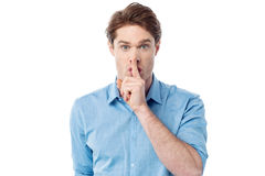Silence gesture, shhhhh! Royalty Free Stock Image