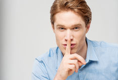 Silence gesture, shhhhh! Royalty Free Stock Photo