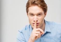 Silence gesture, shhhhh! royalty free stock photo