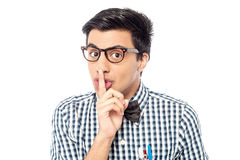 Silence gesture, shhhhh! Royalty Free Stock Photography