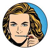 Silence girl mouth over zipper closure. Pop art retro style. The secret of the company. State secret. Silence and mystery Stock Images