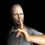 Secret. Man asking for silence with finger to lips Stock Images