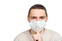 Silence man in protective mask Royalty Free Stock Photo
