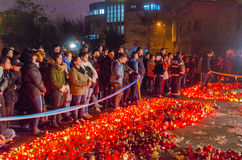 Silence march in memory of victims from Colectiv Club Stock Image