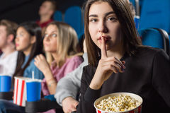 Silence at the movie theatre Stock Photos