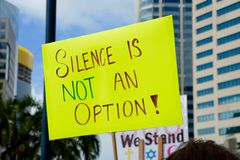 Silence Is Not an Option. Protest Sign at 2017 Women`s March in San Diego Royalty Free Stock Photos