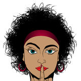 Silence. Retro drawing of a curly hair girl asking for silence Stock Photography