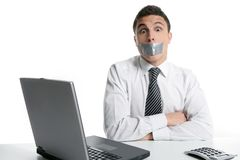 Silence with tape on mouth, businessman office Royalty Free Stock Photography