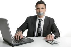 Silence with tape on mouth, businessman office. Silence with tape on mouth, businessman computer office isolated Stock Photos