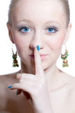 Silence young woman isolated Royalty Free Stock Image