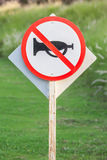 Silence zone in rural scene, the warning sign do not use vehicle Royalty Free Stock Photography