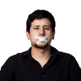 Silenced Hispanic Man Royalty Free Stock Photography